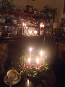 Advent candlelight in the dining room